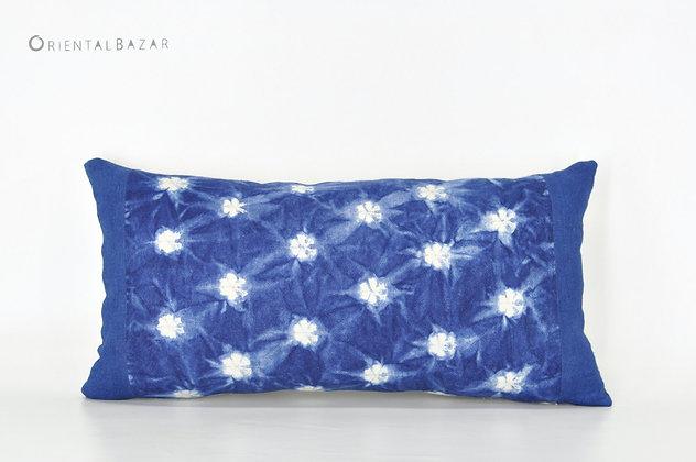 """Miao Indigo Shibori Lumbar Pillow Cover 20"""" x 10"""""""