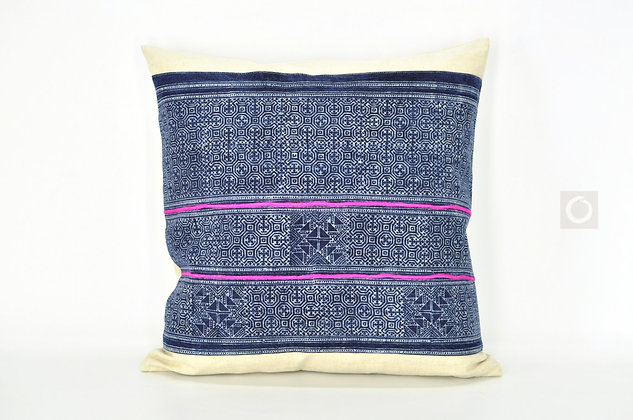 "Indigo Hmong Batik Pillow Cover 18"" x 18"""