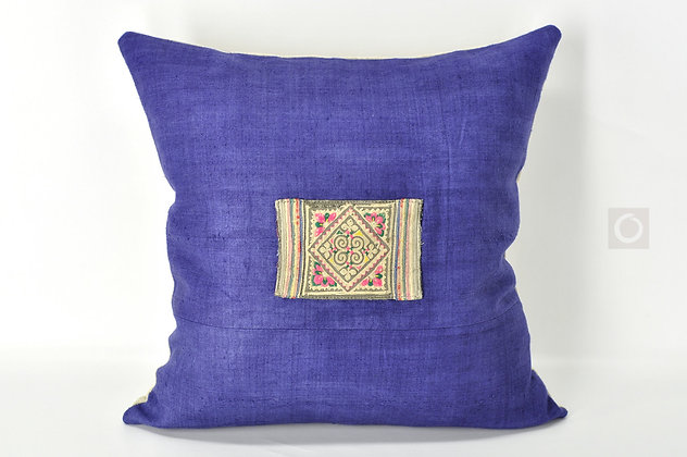 "Indigo Pillow Cover with Hmong Antique Embroidery Patchwork 18"" x 18"""