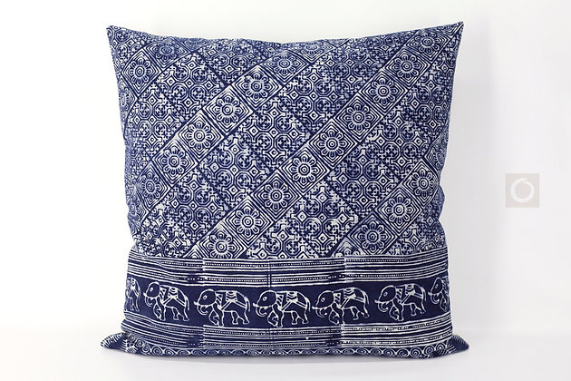 "Indigo Batik Pillow Case Handprinted on Cotton 22"" x 22"""