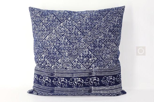 """Indigo Batik Pillow Case Handprinted on Cotton 22"""" x 22"""""""