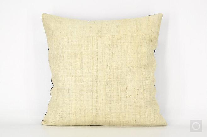 "Natural Hemp Pillow Case with Indigo Reverse 18"" x 18"""