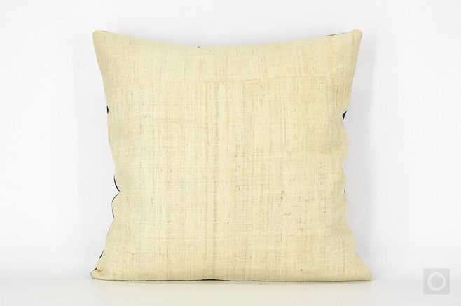 "Natural Hemp Pillow Case with Indigo Reverse 18"" x 18"""