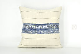 "Beige Pillow Cover with Vintage Hmong Indigo Hemp Batik 18"" x 18"" / 614"