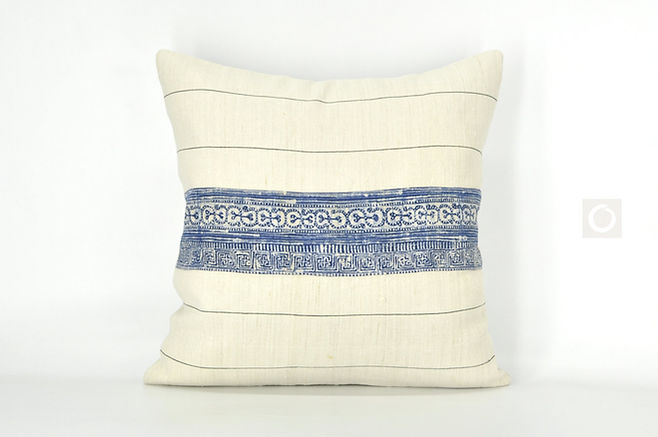 "Beige Pillow Cover with Vintage Hmong Indigo Hemp Batik 18"" x 18"" / 614"