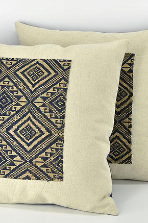 "Indigo Pillow Cover with Laotian Tribal Blanket Fabric Patch 20"" x 20"""