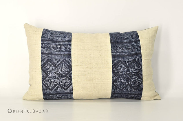 "Bohemian Decorative Pillow Cover with Antique Handwoven Hemp 20"" x 12""/ 788"