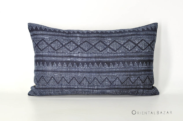 "Bohemian Decorative Pillow Cover with Indigo Handwoven Hemp 20"" x 12""/ 790"