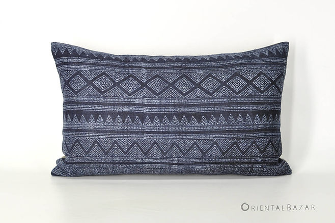 "Bohemian Decorative Pillow Cover with Indigo Handwoven Hemp 20"" x 12""/ 790"