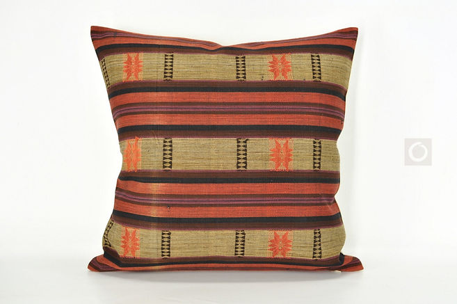 "Handwoven Naga Cotton Cushion from Burma 18"" x 18"" / 460"