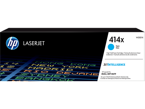 HP 414X High Yield Cyan Original LaserJet Toner Cartridge (W2021X)