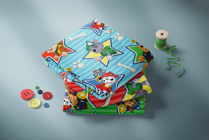 Paw Patrol Repeat Patterns for Fabric