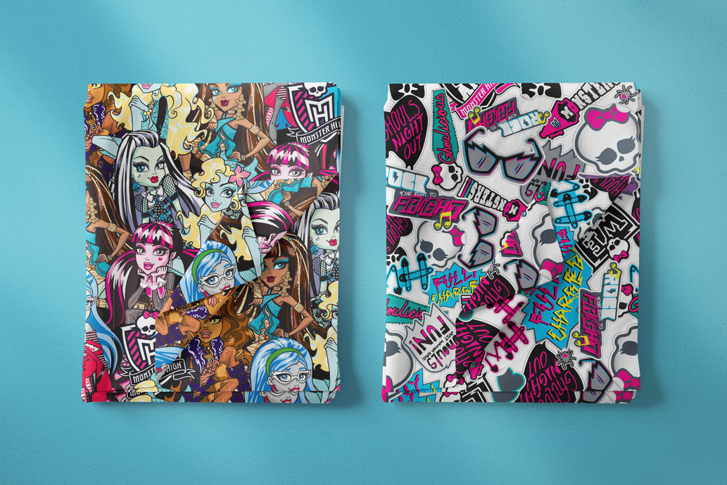 Monster High Repeat Patterns for Fabric