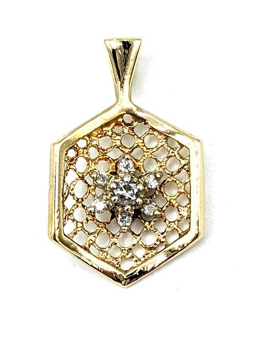 Diamond pendant charm 14k