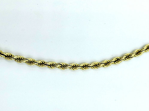 "Rope neckchain 14k solid gold 21"" 3.7mm"