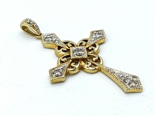 Cross pendant 14k yg with diamonds .10ctw