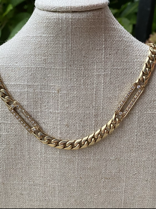Curb link diamond station necklace