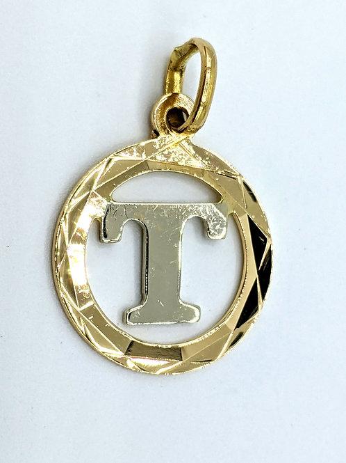 """T"" initial pendant charm 14k"