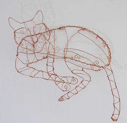 Sofa Cat. Copper wire, sculpture