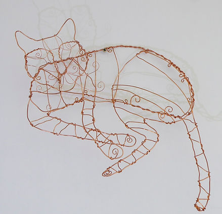 Sofa Cat. Copper wire, sculpture