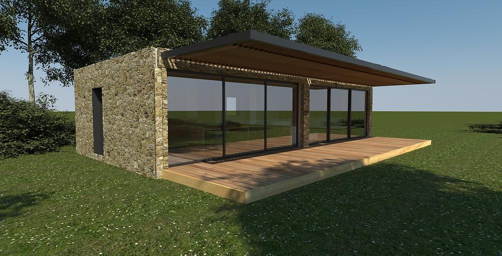 Pavillon lodge modulaire et éco-responsable créé sur la base des structures innovantes Cubeen.