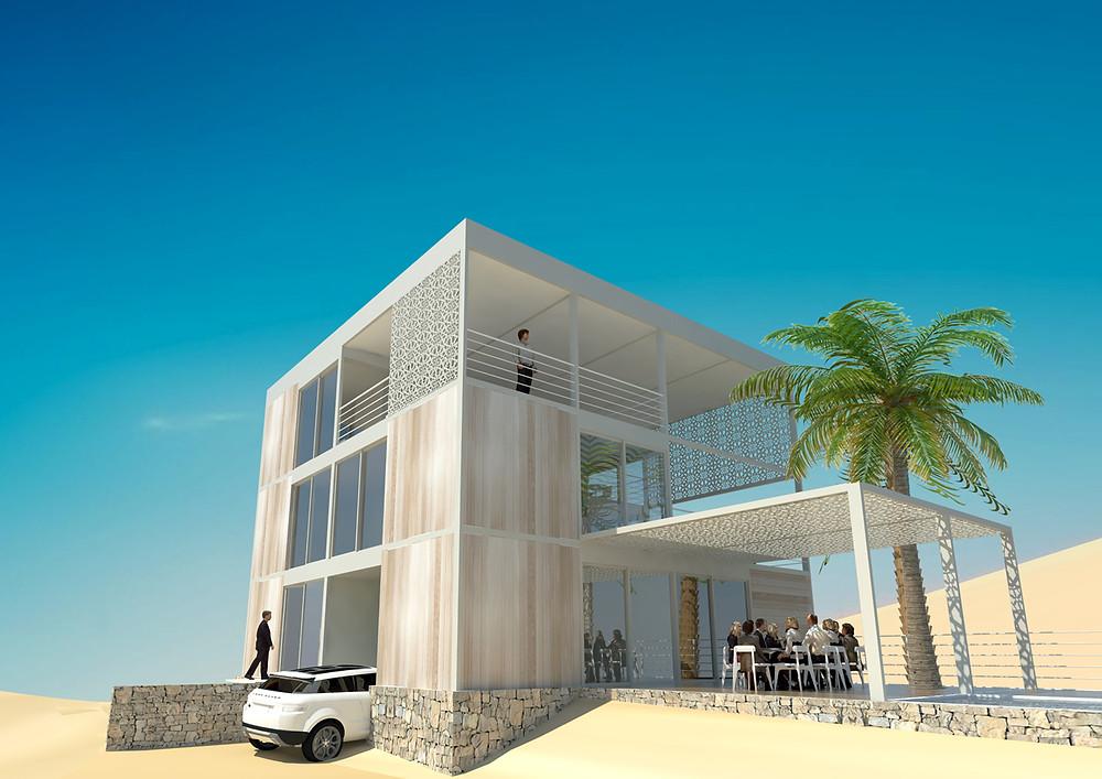 La villa Inergeen est un bâtiment conçu à partir d'éléments modulaires