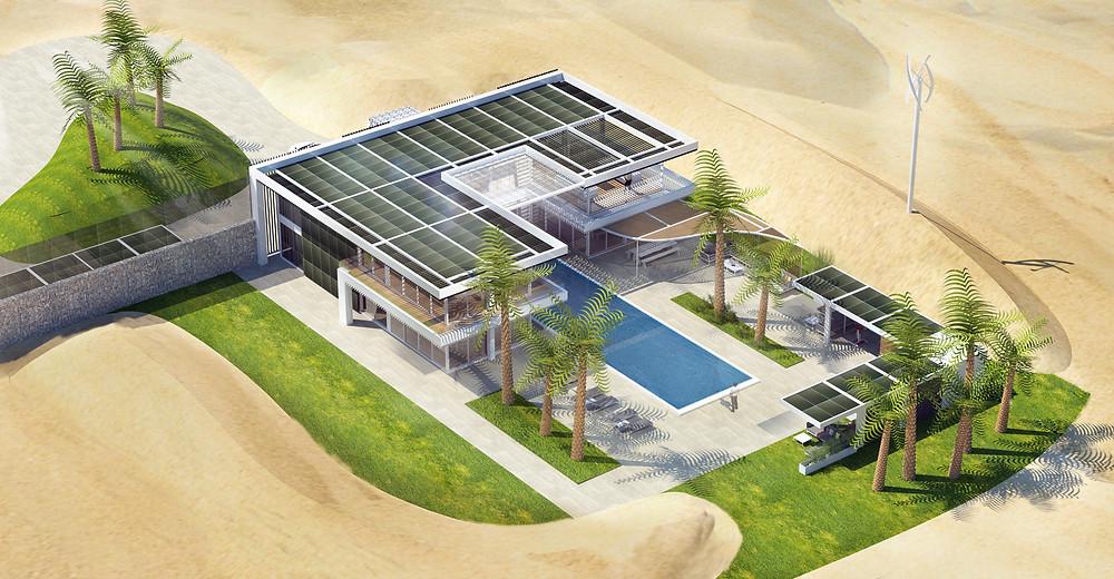 Projet de villa haut de gamme, modulaire et éco-responsable avec panneaux solaires