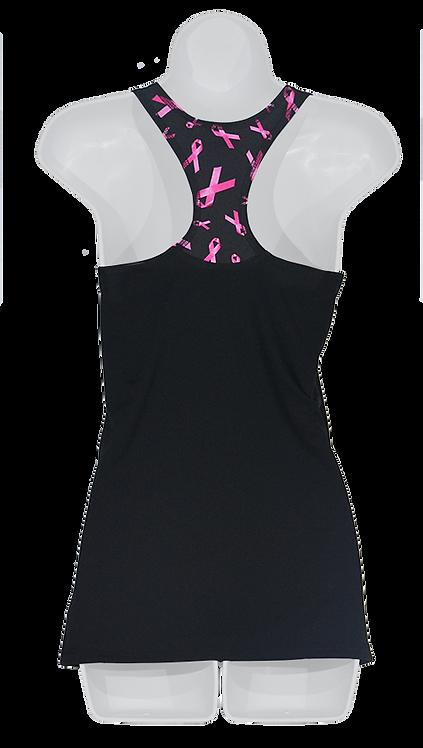La camisole noire Ruban rose