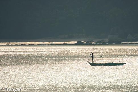 Fisherman on Silver Sea