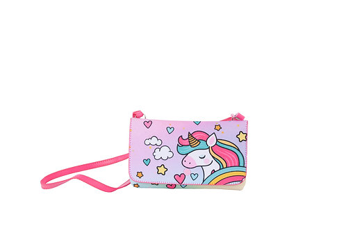 Bolsa Carteira Unicórnio Glitter Menina Criança Infantil