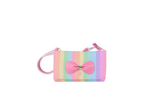 Bolsa Carteira Listrada Glitter Menina Criança Princesa Pink