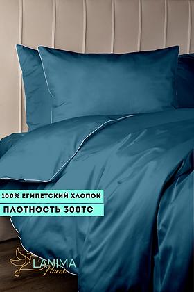 Комплект постельного белья Темная Бирюза Премиум Сатин