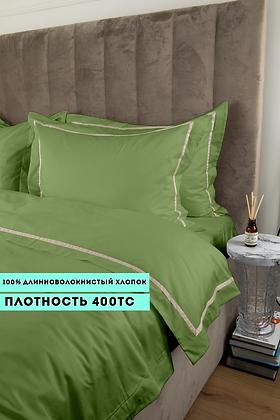 Отельное постельное белье Simple,цвет травяной  с белой  полосой