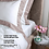 Thumbnail: Отельное постельное белье Megan, белое с пудровой полосой
