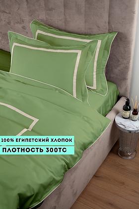 Отельное постельное белье Rico,травяной с белыми полосами
