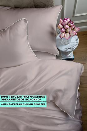 Однотонное постельное белье из тенселя, цвет темная пудра