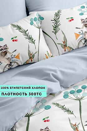 Комплект постельного белья Енот на великах