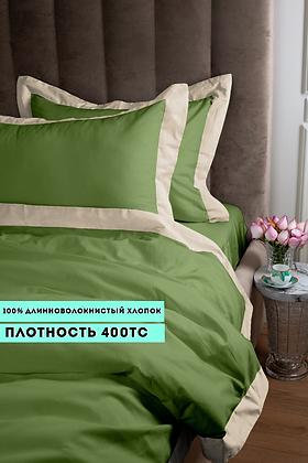 Отельное постельное белье Megan, травяное с белой  полосой