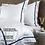 Thumbnail: Отельное постельное белье Simple, цвет белый с синей полосой