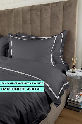 Отельное постельное белье Santanta, цвет графит с белыми полосами