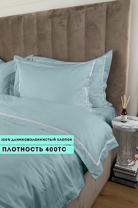 Отельное постельное белье Simple, бирюзовое с белой полосой