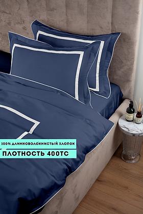Отельное постельное белье Rico, синий с  белыми полосами