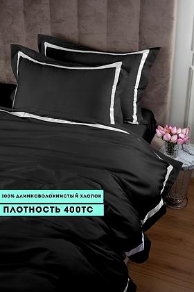 Отельное постельное белье Rico, черное с белыми полосами