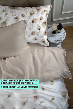 Комплект постельного белья Бежевые перья павлина