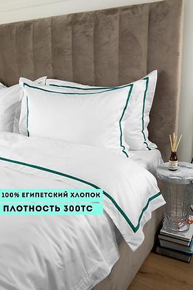 Отельное постельное белье Simple, цвет белый с зеленой полосой