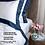Thumbnail: Отельное постельное белье Megan, белое с синей полосой