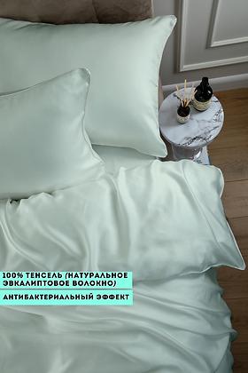 Однотонное постельное белье из тенселя, цвет фисташковый