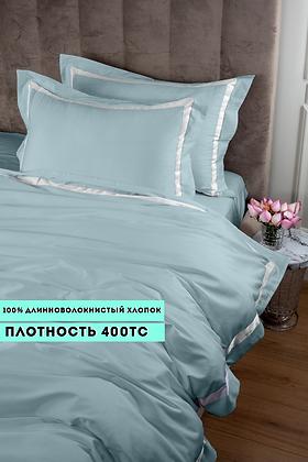 Отельное постельное белье Santanta,цвет бирюзовый с белыми полосами