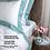 Thumbnail: Отельное постельное белье Megan, белое с бирюзовой полосой