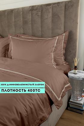 Отельное постельное белье Simple,бронзовое с белой  полосой